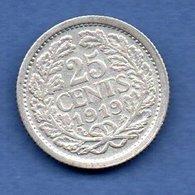 Pays Bas  -  25 Cents 1919  -  Km # 146  -  état  TB+ - 25 Cent