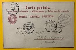 9291 - Neuchâtel 18.05.1883 Ambulant Pontalier à Dôle Et Montbéliard - Entiers Postaux