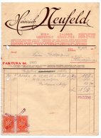 1936 YUGOSLAVIA, CROATIA, ZAGREB, VIENNA, AUSTRIA, HEINRICH NEUFELD, INVOICE, 2 REVENUE STAMPS - Invoices & Commercial Documents