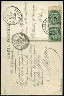 France N°  111c,  Blanc Au Type IB De Carnet En Paire Sur Carte Postale - 1877-1920: Période Semi Moderne