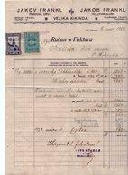 1926 YUGOSLAVIA, SERBIA, INVOICE, JAKOV FRANKL, VELIKA KIKINDA MUNICIPALITY REVENUE STAMP,  2 REVENUE STAMPS - Invoices & Commercial Documents
