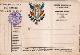 LOT DE 4 CARTES . CORRESPONDANCE DES ARMEES DE LA REPUBLIQUE - Guerra 1914-18