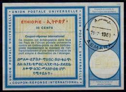 ERYTHREE / ERITREA / ETHIOPIA Vi19 35 CENTS International Reply Coupon Reponse IRC Antwortschein O ASMARA 21.07.69 - Eritrea