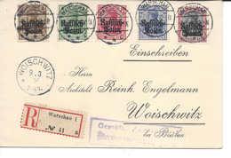 Allemagne 3,5,10,20, 40 Pf Surchargés RUSSICH POLEN, Warschau 6.3.1916 Lettre Recommandée Pour Woischwitz Zensur Geprüft - Occupation 1914-18