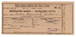 1921 YUGOSLAVIA, MACEDONIA, SKOPJE TO RISTOVAC, SERBIA, TRAIN TICKET - Tickets - Vouchers
