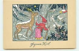 N°13821 - L.P.R. - Joyeux Noël - Lutin Et Un Cerf Se Cachant Derrière Un Arbre - Noël
