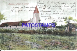 124779 PARAGUAY LIMPIO IGLESIA & PLAZA VISTA PARCIAL SPOTTED CIRCULATED TO ARGENTINA POSTAL POSTCARD - Paraguay