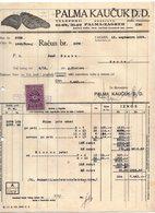 1929 YUGOSLAVIA, CROATIA, ZAGREB, PALMA KAUCUK, SHOE SOLE MAKERS, INVOICE ON LETTERHEAD, 1 FISKAL STAMP - Invoices & Commercial Documents