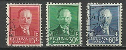 LITAUEN Lithuania 1934 Michel 391 - 393 President A. Smetona O - Lituania