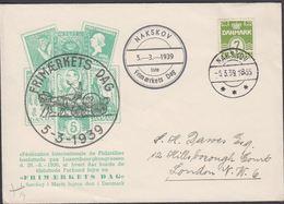 1939. 7 ØRE. Nakskov 1ste Frimærkets Dag. NAKSKOV -5.3.39. To London. (Michel 245) - JF304818 - Covers & Documents
