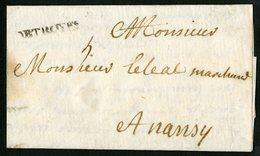 """1717 AUBE Cote 700 € """"DE TROYES"""" En Noir (Lenain N°23,  Indice 22). Sur Lettre Pour Nancy Avec La Taxe Manuscrite """"5"""". - Marcophilie (Lettres)"""