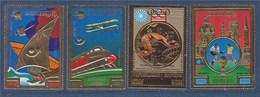 = 4 Timbres République Khmère Poste Aérienne Sport, Aviation, Football Munich, Neufs - Briefmarken