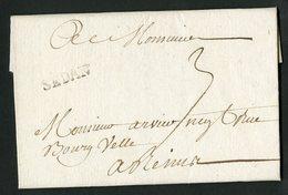 """1759 ARDENNES Cote 90 € """"SEDAN"""" En Noir (Lenain N°6,  Indice 12). Sur Lettre Datée De Torcy, Avec La Taxe Manuscrite """"3"""" - Storia Postale"""