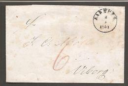1851. AARHUS 3-8 1851 On Cover To Viborg. Postage Marking: 6 In Brownred. () - JF100226 - Danimarca