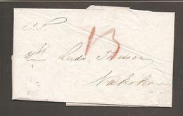 1849. Cover To Nakskov From København 3-7. Postage Marking In Brownred. () - JF100235 - Danimarca