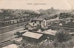 71 Chagny Le Depot Des Machines Gare Train Locomotive Locomotives à Vapeur Wagon Cachet Militaire Service Sanitaire - Chagny