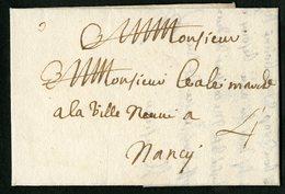 1730 ARDENNES Lettre Datée De Sedan Le 29 Avril 1730 Et Adressée à Nancy. - Storia Postale