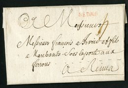 "1759 ARDENNES Cote 50 € ""SEDAN"" En Rouge (Lenain N°6A, Indice 8)  Avec La Taxe Manuscrite ""4"" - Storia Postale"
