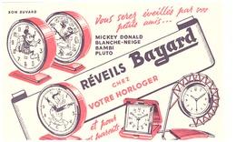REVEILS BAYARD  CHEZ VOTRE HORLOGER  ET POUR VOS PARENTS -mickey Donald Blanche-neige Bamb Pluto - Papel Secante