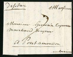 "1740 ARDENNES Cote 190 € ""De Sedan"" Manuscrite (Lenain N°2a, Indice 16)  Avec La Taxe Manuscrite ""7"" - Storia Postale"