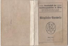 MITGLIEDSAUSWEIS 1921 D. Krankenkasse Der Handlungsgehilfen In Wien, 20 Seiten, Viele Eintragungen Und Stempel - Historische Dokumente