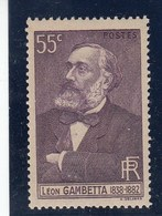 France - 1938 - N° YT 378** - Léon Gambetta - Nuovi