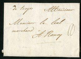 """1714 AUBE Cote 70 € """"De Troyes"""" Manuscrite (Lenain N°1, Indice 10) - Marcophilie (Lettres)"""