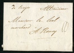 "1714 AUBE Cote 70 € ""De Troyes"" Manuscrite (Lenain N°1, Indice 10) - Poststempel (Briefe)"