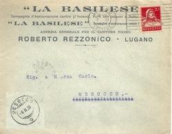 """Motiv Brief  """"La Basilese, Comp.Assicurazione, Lugano""""        1930 - Schweiz"""