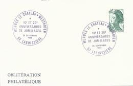 Carte Avec Cachet Commémoratif Anniversaire Des Jumelages Merbes Le Chateau - Westhofen - Labuissière - 28/09/1985 - Poststempel (Briefe)