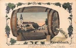 GRUSS Aus RAVELSBACH AUSTRIA~WINE BARREL OR KEG ~ GRAPES BORDER ~ JOSEF SCHEINER PUBL PHOTO POSTCARD 42518 - Autriche
