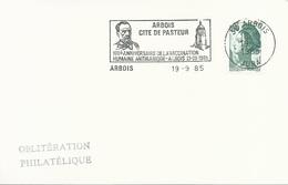 Carte Avec OMEC SECAP Avec Flamme Arbois Cité De Pasteur - 19 Septembre 1985 - Postmark Collection (Covers)