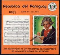 PARAGUAY - BF20** - LUDWIG VAN BEETHOVEN - Paraguay