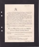 LIEGE WIDOYE Marie-Augustine Van AKEN Veuve Alphonse BREULS 78ans 1919 SCHAETZEN FORGEUR De BORMAN Tongres - Décès
