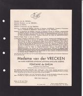 SOLRE-SAINT-GERY MONS Marie-Hortense FONTAINE De GHELIN épouse Van Der VRECKEN 1905-1942 - Obituary Notices