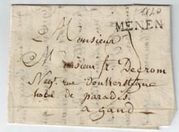 Lettre Avec Contenu De Menin Menen Du 17 Avril 1820 Vers Gand Gent - 1815-1830 (Période Hollandaise)