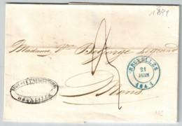 Lettre Avec Contenu Du 21 Juin 1841 De Bruxelles Vers Mons - 1830-1849 (Belgique Indépendante)