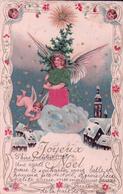 Joyeux Noël, Ange Et Angelot, Litho Gaufrée Et Tissu (24.12.1902) - Anges