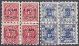 ICELAND, 1902 RED/BLUE O/PRINTED BLOCKS 4 MNH - Neufs