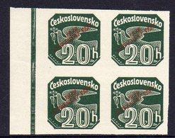 SLOVAKIA, 1939 20h GREEN IMPERF O/P BLOCK 4 MNH - Ungebraucht