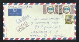 Qatar Registered Air Mail Postal Used Cover Qatar To Pakistan Stamps Gulf Air - Qatar