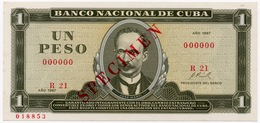 "1 PESO 1967 SPECIMEN BANCO NACIONAL  "" SHIPPING FREE "" - Cuba"
