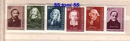 1958  Famous People - I. GLINKA ; KOMENSKY ; LINNE , W. BLAKE ; C.GOLDONI ; A. COMTE ;6v.-MNH Bulgaria / Bulgarie - 1945-59 République Populaire