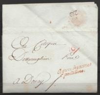 """L. Datée 19 Vendémiaire An 3 (1794) De PARIS Pour DOUAY - Cursive """"Agence Des Armes/portatives"""" - Marcophilie (Lettres)"""