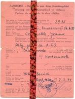 Oorlog , Reispas - Ausreise Jeanne Costenoble , Zandvoorde Oostende Naar Kortemark - 1943 - 1944 - Vieux Papiers
