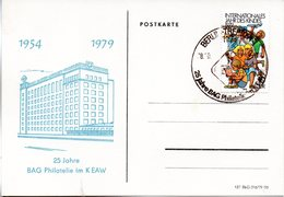 """(DDR-SB) DDR Sonder-Karte """"25 Jahre BAG Philatelie Im K EAW"""" EF Mi 2422 SSt. 28.10.79 BERLIN-TREPTOW - [6] République Démocratique"""