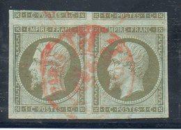 N°11 EN PAIRE CACHET ROUGE DES IMPRIMES SIGNE BELLES MARGES! - 1853-1860 Napoléon III