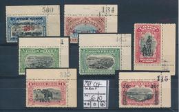 """BELGIAN CONGO SELECTION MARGINAL INSCRIPTIONS """"CHIFFRE COMPTABLE"""" LH - 1894-1923 Mols: Neufs"""