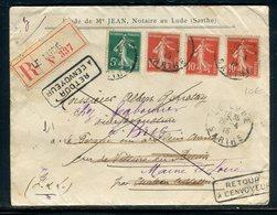 Enveloppe En Recommandé De Le Lude Et Retour En 1915,  Redirigé Plusieurs Fois, Affranchissement Semeuses - Réf N 63 - Postmark Collection (Covers)