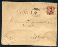 Enveloppe En Recommandé De La Flèche Pour Le Lude En 1887, Affranchissement Sage - Réf N 75 - Postmark Collection (Covers)